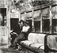 Night on the El Train =) Edward Hopper. - s, in 1915 Hopper turned to etching, producing approximately 70 works, many of urban scenes of both Paris and New York. Night Train, Paul Klee, American Artists, Les Oeuvres, Painting & Drawing, Art History, Art Photography, Art Gallery, Illustration Art