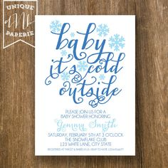 Baby it's Cold Outside /// Winter Snowflake Invitations by designsbynicolina