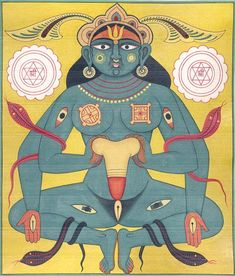 Mother Earth Pacifies Shiva's Fiery Linga, Tantra Miniature Painting On Paper Chakras Reiki, Les Chakras, Shiva, Yoga, Tantra Art, Sacred Feminine, Indian Gods, Indian Paintings, Sacred Art