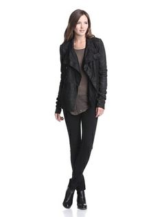 Love this outfit ... Rick Owens Women's Button-Up Leather Jacket and the pants, boots and shirt are perfect with it