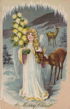 Antique 1900s Merry Christmas Angel Christmas Tree Winter Postcard | eBay