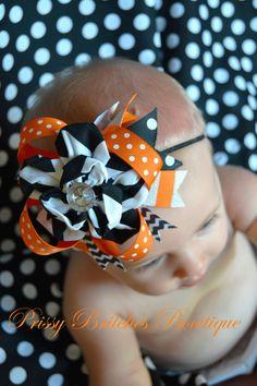 Halloween Bow, Halloween boutique bow, chevron, headband, baby, newborn, orange, black on Etsy, $12.00
