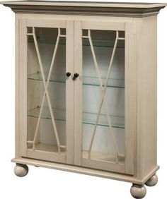 Amish Rhonda Curio Cabinet Rich with solid wood, the Rhonda is ready to display treasured items. Fine wood furniture built in Amish country. Includes three adjustable shelves and touch lighting. #curiocabinets