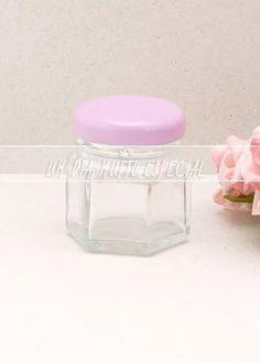 20 potes vidro sextavado c/ tampa rosa 40ml brigadeiro pote