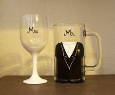Classic Bride & Groom Wine Glass and Beer Mug by ArtsyAsh101. , via Etsy.