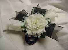 Black And White Wrist Corsage Little Black Dress Classy, Classy Dress, White Corsage, Black Ribbon, Ribbon Rose, Yahoo Images, Image Search, Ivory, Gift Wrapping