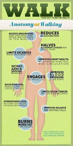 Walking Benefit! #Fitness #Diet #Nutrition #food #health # Gymnasium #Science