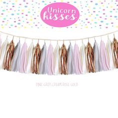 Tissue Tassel Garland  fully assembled -Champagne-pink-Blush-grey- Rose Gold Modern Room Wedding Shower Tassel Decor Balloon Tails birth by UnicornsandKisses on Etsy