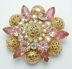 DeLizza & Elster Pink Rhinestone Brooch - Garden Party Collection Vintage Jewelry