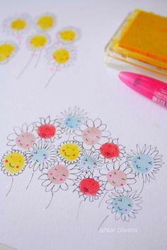fingerprint flowers:  -LE PRINTEMPS ARRIVE!! -spring time is coming!! -LLEGA LA PRIMAVERA!!