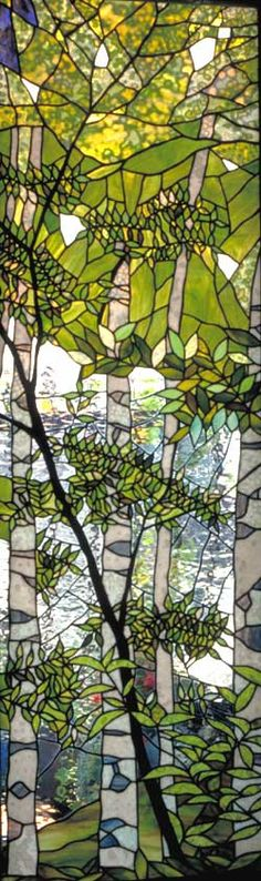 "Tashiro's work is absolutely stunning. ""A white birch forest"" window by Tashiro Stained Glass Studio, Tokyo."