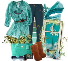 """Belted Teal Tunic"" by sweetsuzieann ❤ liked on Polyvore"