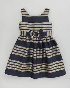 Z0WFQ Lilly Pulitzer True Glam Metallic-Striped Dress, Navy