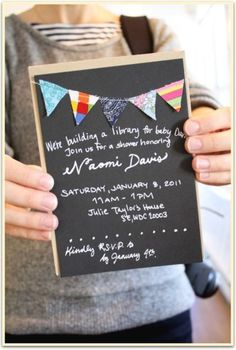 """cute invite w/ banner. """"build a library"""" theme baby shower."""