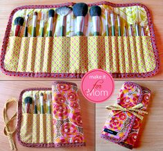 Last Minute Mother's Day Idea: Roll-Up Make-up Brush Caddy   Sew4Home