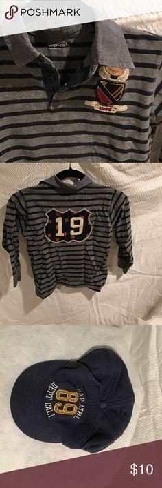 Gap Gap kids blue and grey striped shirt, and baby gap cap. GAP Shirts & Tops Polos