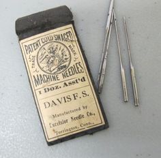 Davis F.S. Excelsior Needle Co Antique Machine Needle Pack Patent Cold Swaged