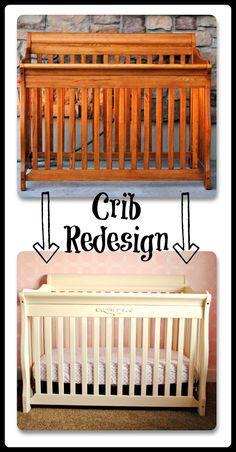 Save money with this Crib redesign! How to paint and add embellishment to a piece of furniture.  This is a fun baby crib tutorial.  Click to find out more.