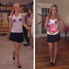 If you still can't decide on a Halloween costume, why not give this Regina George iconic look a go. It's easy and cheap! Don't want to spend a fortune on Halloween costumes this year? Here are 22 cheap and easy Halloween costume ideas to inspire you. Easy Halloween Costumes For Women, Barbie Halloween, Best Friend Halloween Costumes, Celebrity Halloween Costumes, Last Minute Halloween Costumes, Halloween Outfits, Costume Women Diy, Easy Diy Costumes, Homemade Halloween Costumes