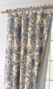 I love toile prints and ticking and these have a nice soft texture. Tie-top curtains to match toiles • Made in France of cotton, each toile curtain reverses to coordinating stripes~Horchow....hmm...and some tiny knife pleats....