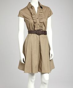 Take a look at this Khaki Belted Shirt Dress by Bailey Blue on #zulily today!