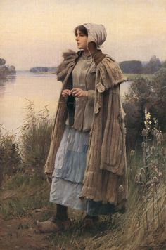 """""""Shepherdess Knitting"""" c.1890-1900 oil - Charles Sprague Pearce"""