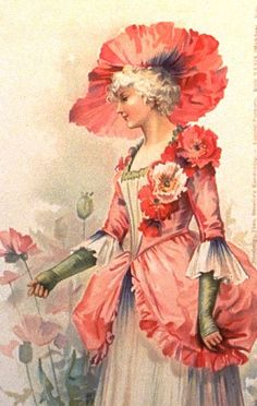 Poppy Lady - Victorian postcard published by Stroefer in 1901 - Illustration by Ellen Jessie Andrews (English, 1857-1907)