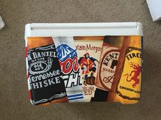left to right- 1800 silver label, busch light, budwieser, budlight, yuenling back Painted Fraternity Coolers, Frat Coolers, Painted Coolers, Diy Cooler, Coolest Cooler, Formal Cooler Ideas, Bubba Keg, Fraternity Formal, Greek Crafts
