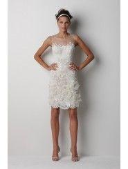 Lace illusion Neckline Embroidered Bodice Mini Wedding Dress