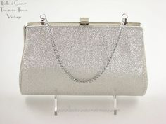 Vintage Evening Purse Clutch Silver Metallic - Perfect for formal or cocktail parties.