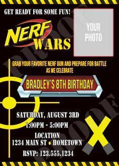 Nerf Party Invitations Template Nerf party Party invitations