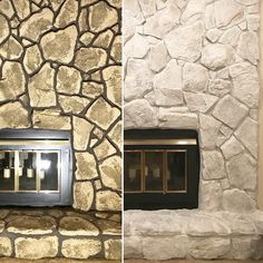 """From Blah Blah """"Stone fireplace update with Classico Limewash. - From Blah Blah """"Stone fireplace update with Classico Limewash. Ledger Stone Fireplace, Painted Stone Fireplace, Stone Fireplace Makeover, Stacked Stone Fireplaces, Simple Fireplace, Fireplace Update, Paint Fireplace, Home Fireplace, Fireplace Remodel"""