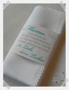 Stofftaschentuch mit Banderole als liebevolles Geschenk für Mama, Papa, Oma, Opa, Trauzeugin etc. Von Nina Schmoll - creative for you
