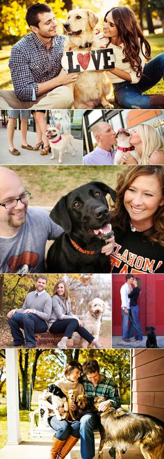 """Can't stop """"awww-ing"""" over these adorable shots of couples with their precious pooches. #wedding #engagement #dog #puppy #cutecouple"""