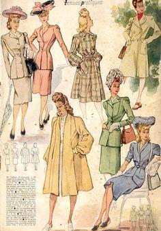 Le Petit Echo de la Mode, 1943. I want that yellow coat!