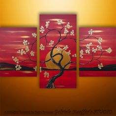 Welcome To Our Studio! -------------------- Hand Painted Modern Original Abstract Paintings by Gabriela and Catalin! Love Canvas Painting, Large Painting, Painting Abstract, Bird Tree, Zen Art, Blossom Trees, Custom Paint, Asian Art, Landscape Paintings