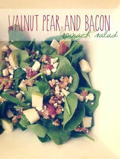 Walnut, Pear, & Bacon Spinach Salad