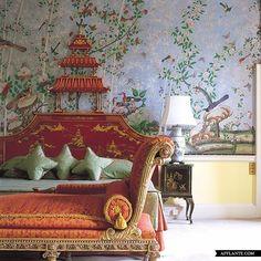 Pagoda Headboard in Brocket Hall, England. Eye For Design