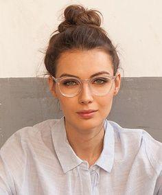 New Glasses, Girls With Glasses, Glasses Style, Blonde With Glasses, Glasses For Round Faces, Glasses Online, White Frame Glasses, Clear Glasses Frames Women, Transparent Glasses Frames