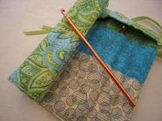 Crochet Hook Case - BLUE/GREEN PAISLEY love the two levels one for needles one for hooks