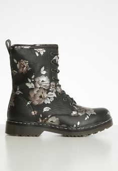 Lace-up design. Black Boots, Block Heels, Combat Boots, Two By Two, Footwear, Lace Up, Floral, How To Wear, Shoes