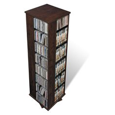 Large 4 Sided Spinning Tower Media Storage - Espresso - Finally, you can have all your CDs, Blu-Rays, or even VHS tapes in one place with the Large 4 Sided Spinning Tower Media Storage – Espresso. Thi...