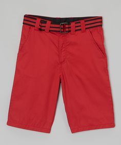 Another great find on #zulily! Nantucket Red Belted Shorts - Toddler by Mick Mack #zulilyfinds