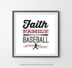 FAITH FAMILY BASEBALL 10x10 inch by CheyenneLyonsDesign on Etsy, $17.00