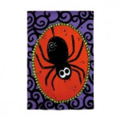 """""""Itsy Bitsy Spider"""" Suede Embellished Printed Seasonal Banner - Flags A Flying"""