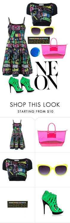 """Stay bright"" by ningaunis ❤ liked on Polyvore featuring Moschino, Stephanie Johnson, L.A. Girl, UN United Nude and neon"