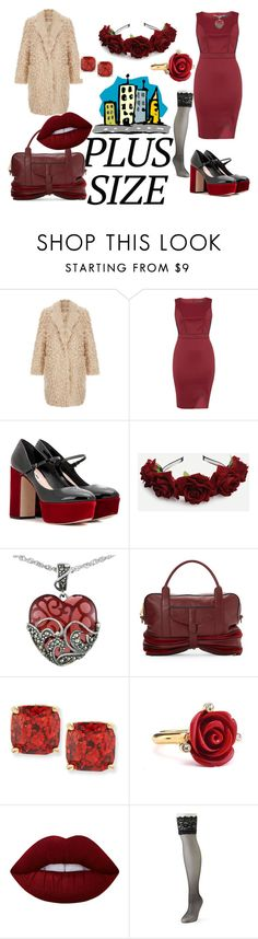 """""""Plus Size: Sexy in the City"""" by bluehatter ❤ liked on Polyvore featuring Elizabeth and James, Dorothy Perkins, Miu Miu, Lord & Taylor, Fabiola Pedrazzini, Kate Spade, Oscar de la Renta, Lime Crime and Berkshire"""