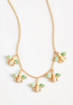 Bee-Lieve Me! Youll look as sweet as honey when you adorn your ensemble with this golden necklace! Dainty Jewelry, Cute Jewelry, Jewelry Accessories, Fashion Accessories, Jewlery, Cute Necklace, Tassel Necklace, Golden Necklace, Unique Necklaces