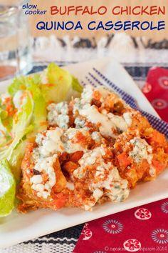 Slow Cooker Buffalo Chicken Quinoa Casserole is an easy dinner recipe ...