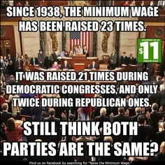Minimum Wage - Democrats vs. Republicans ~ This is great info! The republican party needs to get the boot by the American people. ~
